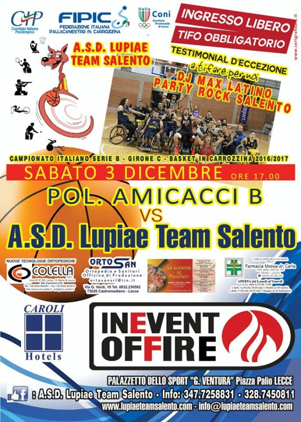 Basket in carrozzina, Serie B: la Lupiae Team Salento verso la prima di campionato a ritmo di rock party