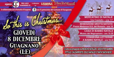 """So this is Christmas"": l'8 dicembre a Guagnano si accende la magia del Natale"
